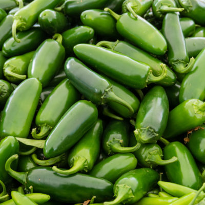 Jalapeno hot peppers at the market